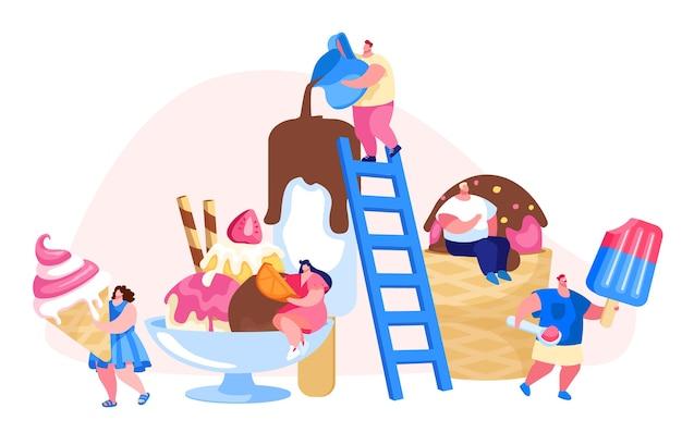 はしごの小さなキャラクターがアイスクリームを飾る