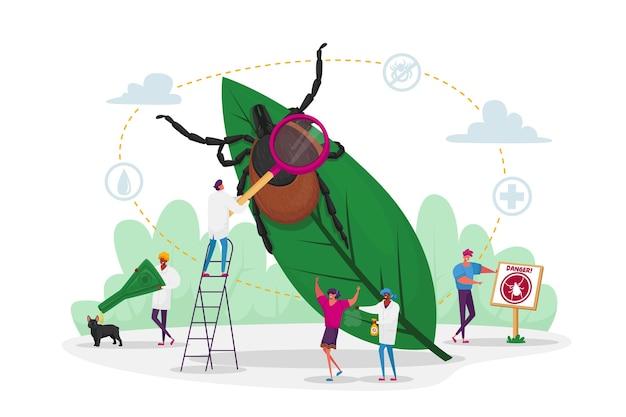 작은 문자는 위험한 곤충을 검색합니다. 진드기는 식물 잎에 숨어 있고, 사람들은 피부와 개 야외에 방충제를 뿌리고 있습니다. 뇌염 진드기, 진드기 물린 보호 개념. 만화