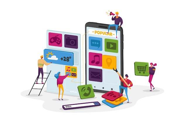 Команда крошечных персонажей работает над огромным смартфоном, выводя значки приложений на экран
