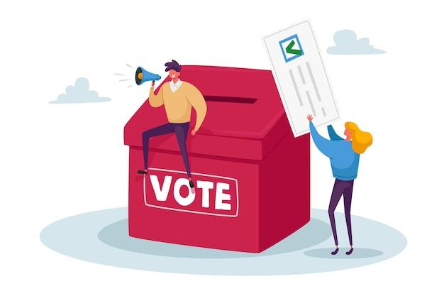 小さなキャラクターの投票、投票、大統領選挙または社会投票の概念