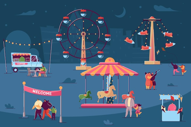 Tiny characters walking in fun fair at night. salesmen selling food and products in stalls and booths. people in casual clothes flying kites. night city in background. market, theme park concept