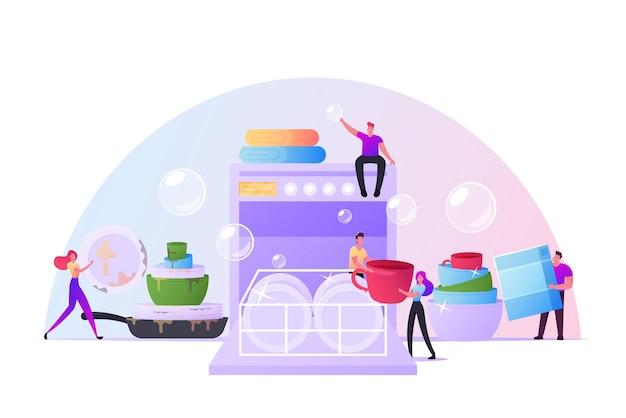 Крошечные персонажи, вместе моющие посуду, кладут тарелки в огромную посудомоечную машину. счастливые люди на кухне моют посуду после приготовления и еды. ежедневный распорядок, гигиена. векторные иллюстрации шаржа