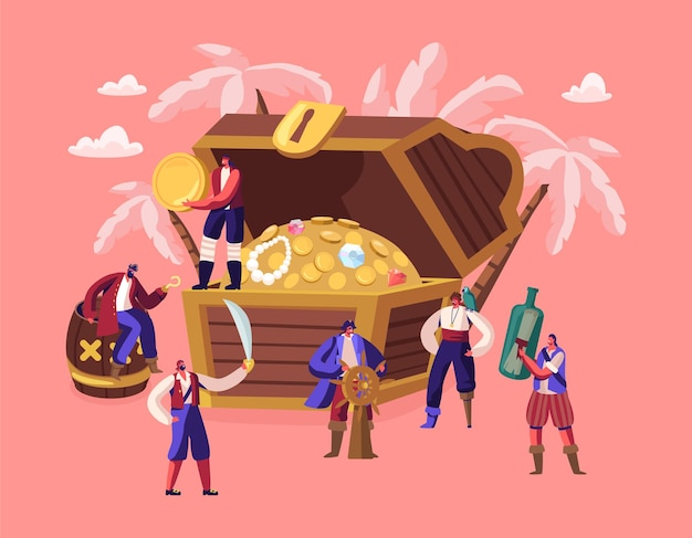 Tiny characters wearing costumes and holding pirates attributes near huge chest with treasures