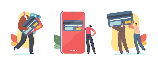 Tiny characters with huge credit cards for cashless payment and transfer money. banking system, online transaction concept. virtual bank services for shopping. cartoon people vector illustration