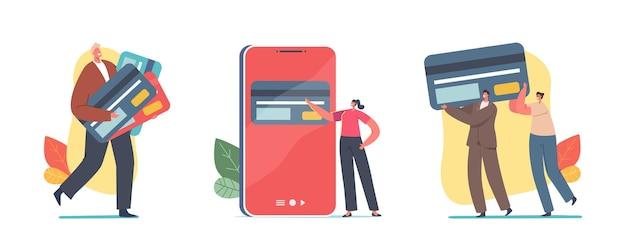 현금 없는 결제 및 송금을 위한 거대한 신용 카드를 가진 작은 캐릭터. 뱅킹 시스템, 온라인 거래 개념. 쇼핑을 위한 가상 은행 서비스. 만화 사람들 벡터 일러스트 레이 션