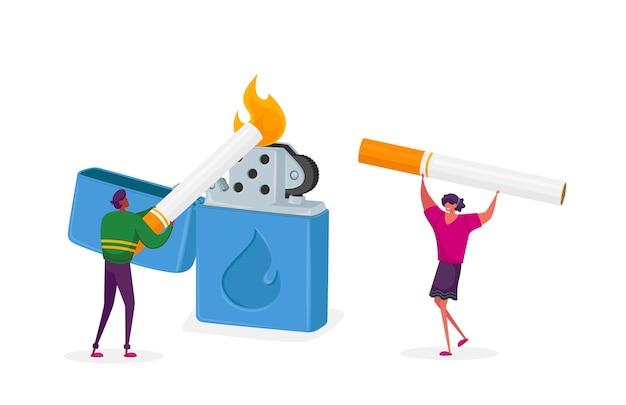Крошечные персонажи: женщина и мужчина прикуривают сигарету из огромной горящей зажигалки