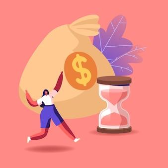 Tiny cheerful female character running near huge money sack and hourglass.