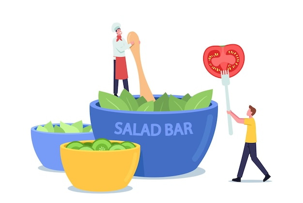 Tiny chef character in apron and toque cooking salad of fresh leaves at huge bowl in vegan cafe, man with tomato slice on fork