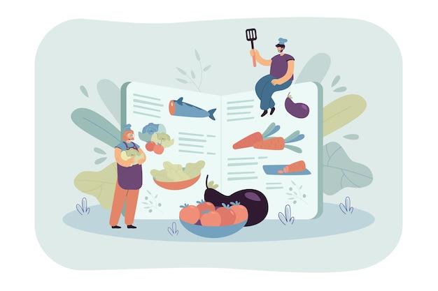 レシピ本に従って健康的な料理を調理する小さなシェフ