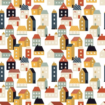 Tiny city, cute scandinavian houses seamless pattern