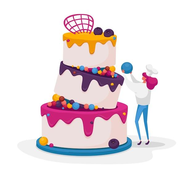 チーフユニフォームの小さな菓子屋またはパン屋の女性キャラクター