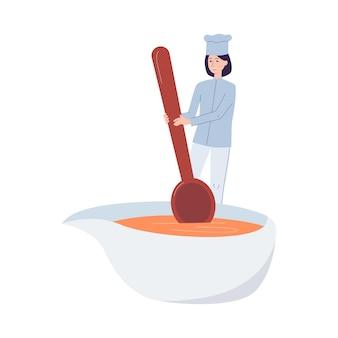 Крошечный повар женский мультипликационный персонаж в униформе готовит еду