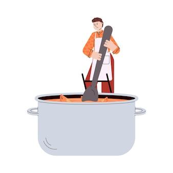 추수 감사절을 위해 호박 수프를 섞는 작은 요리사