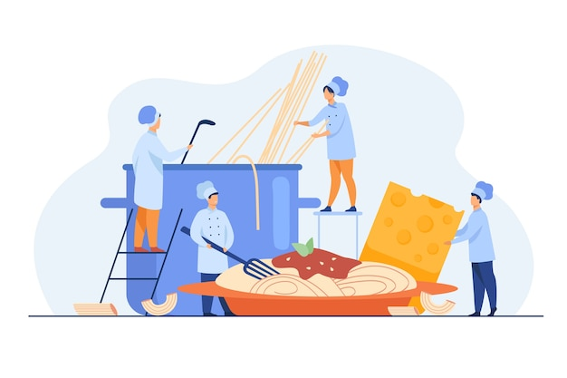 Tiny cooks making spaghetti for dinner isolated flat illustration.