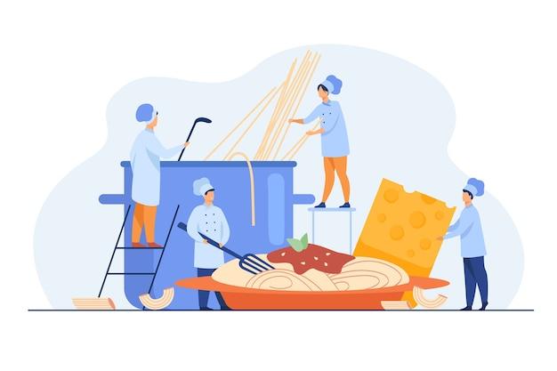 저녁 식사를 위해 스파게티를 만드는 작은 요리사 고립 된 평면 그림.