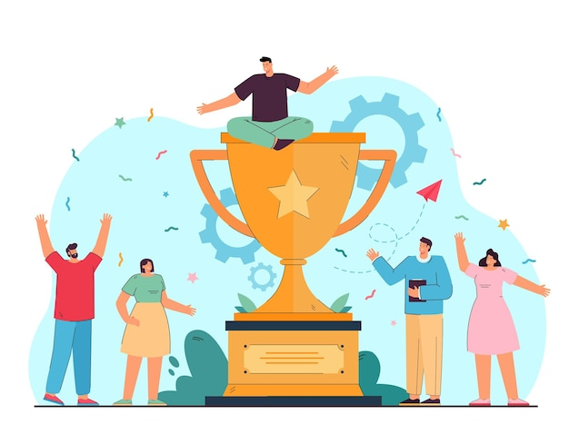 Tiny corporative winners celebrating victory flat illustration