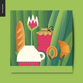Tiny cup house and tee meal on stems growing among huge grass trunks card