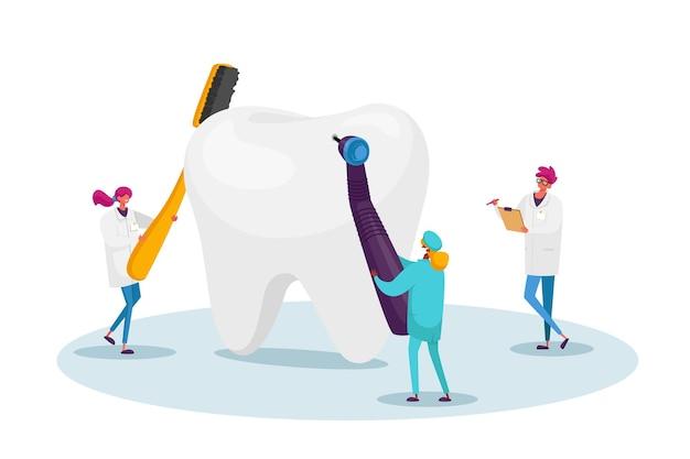 플라크의 충치 구멍에 대한 거대한 치아를 확인하는 작은 치과 의사 캐릭터