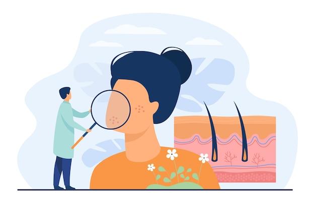 乾燥した顔の皮膚の平らなベクトル図を調べる小さな皮膚科医。抽象的な表皮疾患の診断または治療。皮膚科、健康医療保護および美容の概念