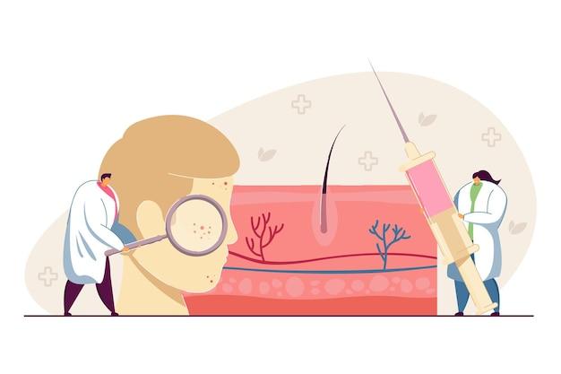 얼굴 피부를 검사하는 작은 피부과 의사