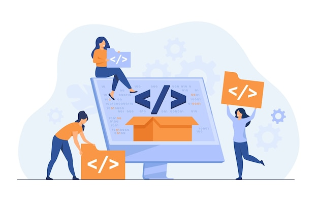 Piccoli sviluppatori che programmano il sito web per l'illustrazione piatta di vettore della piattaforma internet. programmatori di cartoni animati vicino allo schermo con codice aperto o script. sviluppo software e concetto di tecnologia digitale