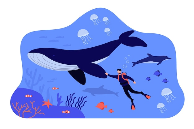 Tiny diver swimming underwater isolated flat illustration