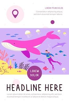 Крошечный дайвер, плавающий под водой, изолированных плоская иллюстрация