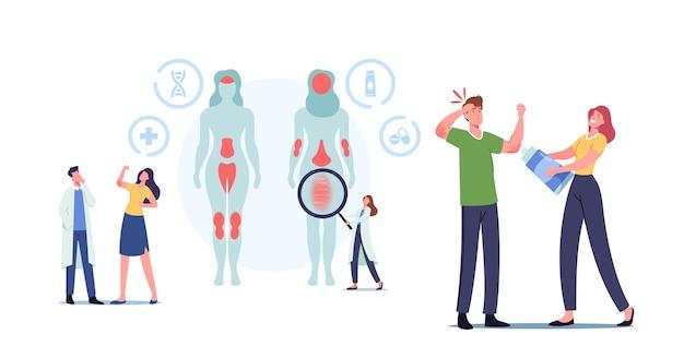 작은 의사 캐릭터는 인체의 건선 영향을 받는 부위를 보여줍니다. 자가면역 피부병. 비늘, 플라크, 확장 및 꼬인 혈관이 있는 레이블 구조. 만화 사람들 벡터 일러스트 레이 션