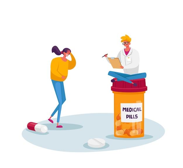 小さな医者のキャラクターが巨大な薬瓶の執筆レシピに座る