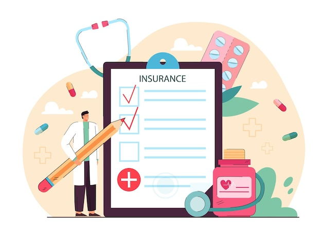 Tiny doctor giving health insurance. hospital man with pencil filling in medical form flat illustration