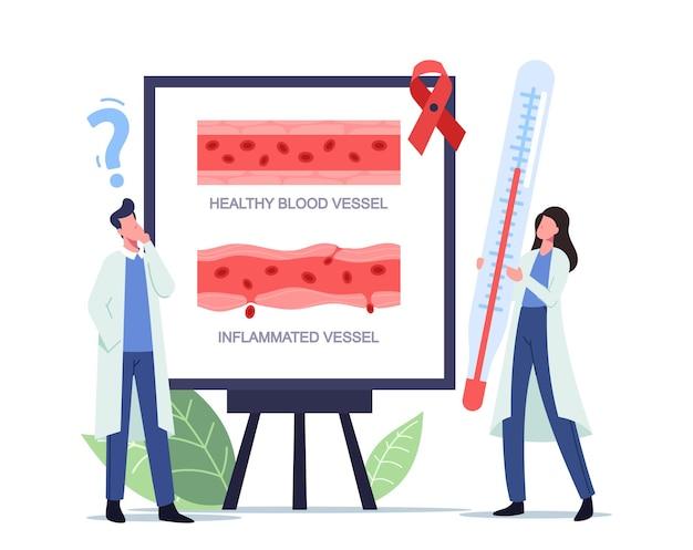 건강하고 염증이 있는 혈관 주사 혈관염을 나타내는 인포그래픽이 있는 화이트 보드에 거대한 온도계가 있는 작은 의사 남성 여성 캐릭터