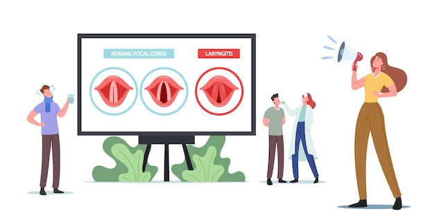 Tiny doctor and patient characters at huge infographics presenting normal and diseased vocal cords with laryngitis. bacterial or viral throat infection. cartoon people vector illustration