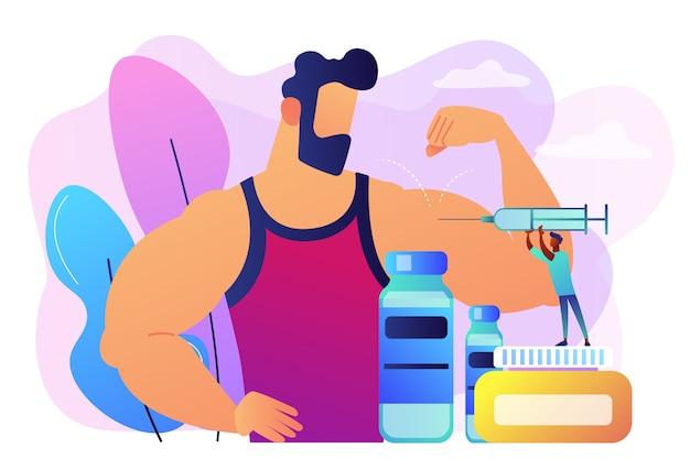 運動選手に同化ステロイドホルモンの注射をしている注射器を持つ小さい医者。同化ステロイドホルモン、アンチエイジングエイド、違法なスポーツドラッグのコンセプト。