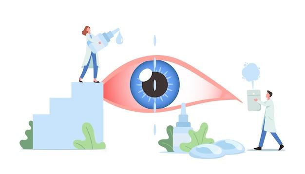 Des, 안구 건조 증후군 및 결막염으로 고통받는 거대한 인간의 눈에 물방울이 떨어지는 작은 의사 캐릭터. 의료 및 제약 안과 치료. 만화 사람들 벡터 일러스트 레이 션