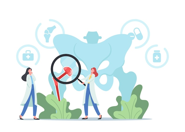Tiny doctors characters with magnifying glass at huge human pelvic bones with total hip prosthesis implant. arthroplasty, osteoarthritis, hip replacement concept. cartoon people vector illustration