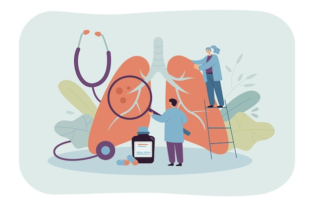 Tiny doctors diagnosing giant lungs or respiratory system. flat illustration.