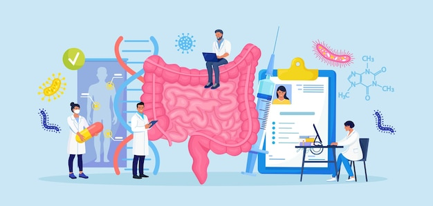 Tiny doctors examining gastrointestinal tract and digestive system. diagnosis and treatment of the bowel. intestinal inflammation, enteritis, colitis, dysbacteriosis