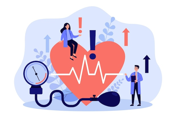 Tiny doctors examining heart health flat illustration
