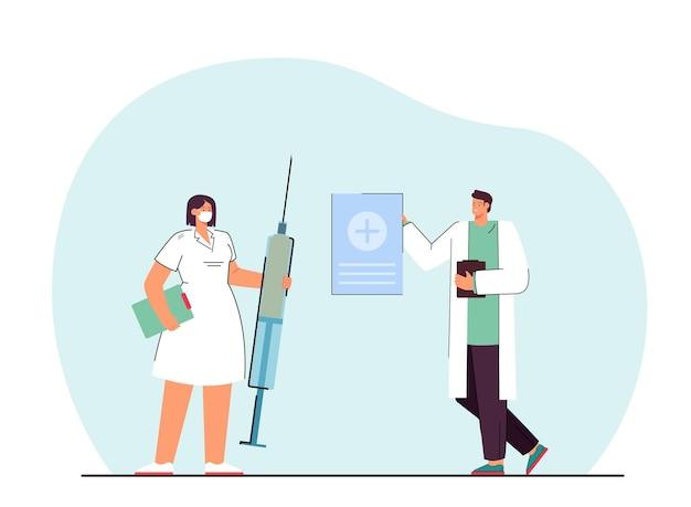 巨大な注射器フラットイラストと小さな医者