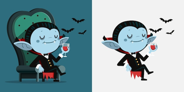 Tiny dracula sit in a chair and drink blood
