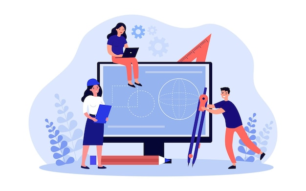 Tiny engineer cartoon characters working on project together. man holding compass or divider, woman in helmet, girl sitting on monitor flat vector illustration. technology, engineering, math concept