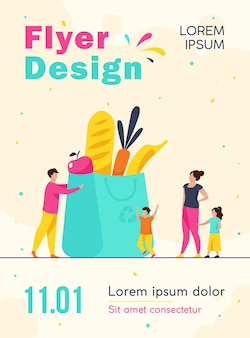 Tiny family at grocery bag with healthy food flyer template