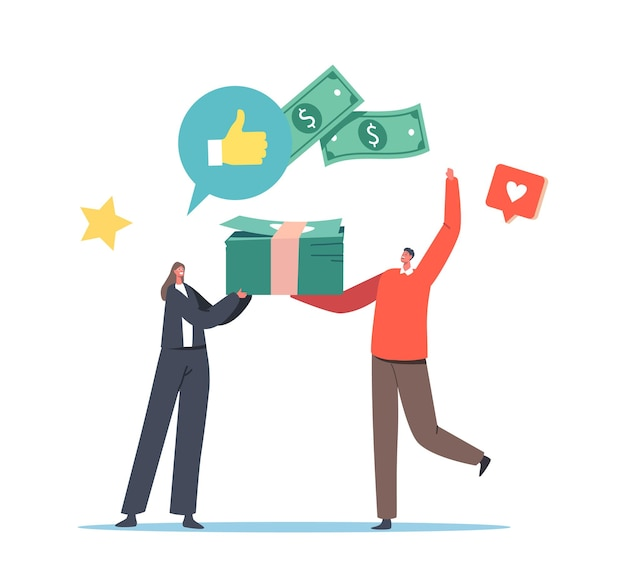 Tiny female banker character giving huge pile of money to customer with good credit score, loan approval concept. bank employee and client communication for debt. cartoon people vector illustration