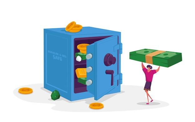 Крошечный женский персонаж несет огромные долларовые купюры в банковский сейф с деньгами