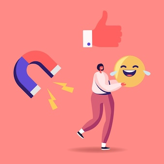 Tiny female character carry huge laughing smile emoji in hands with thumb up and magnet icons