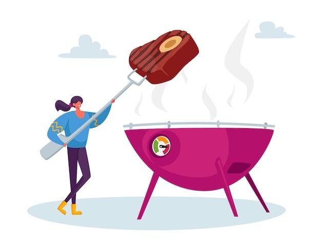 야외 바베큐에서 여름에 길거리 음식을 요리하는 작은 여성 캐릭터. 길거리 음식, 테이크 아웃 정크 식사