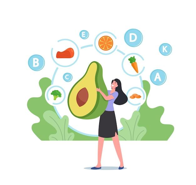 肌の健康、デトックス、強化栄養、スキンケアのための健康食品、ビーガン食、生態学的栄養のための巨大な新鮮なアボカドフルーツを保持している小さな女性キャラクター。漫画の人々のベクトル図