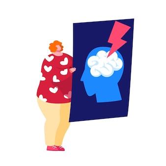 Крошечный женский персонаж держит рентген головы человека с инсультом мозга