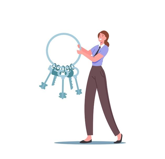 Крошечный женский персонаж в униформе несет огромную связку ключей. служба поиска находок в аэропорту служба поддержки пассажиров, работник возвращает потерянные вещи путешественникам-владельцам. мультфильм люди векторные иллюстрации