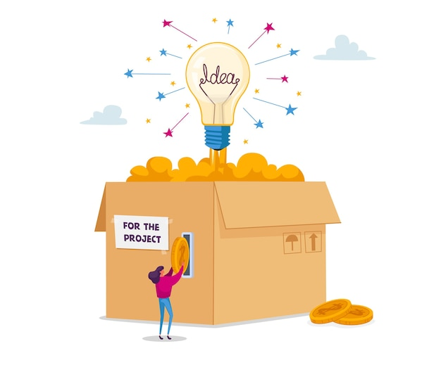 Tiny female character insert golden money coins at huge carton box with glowing lightbulb